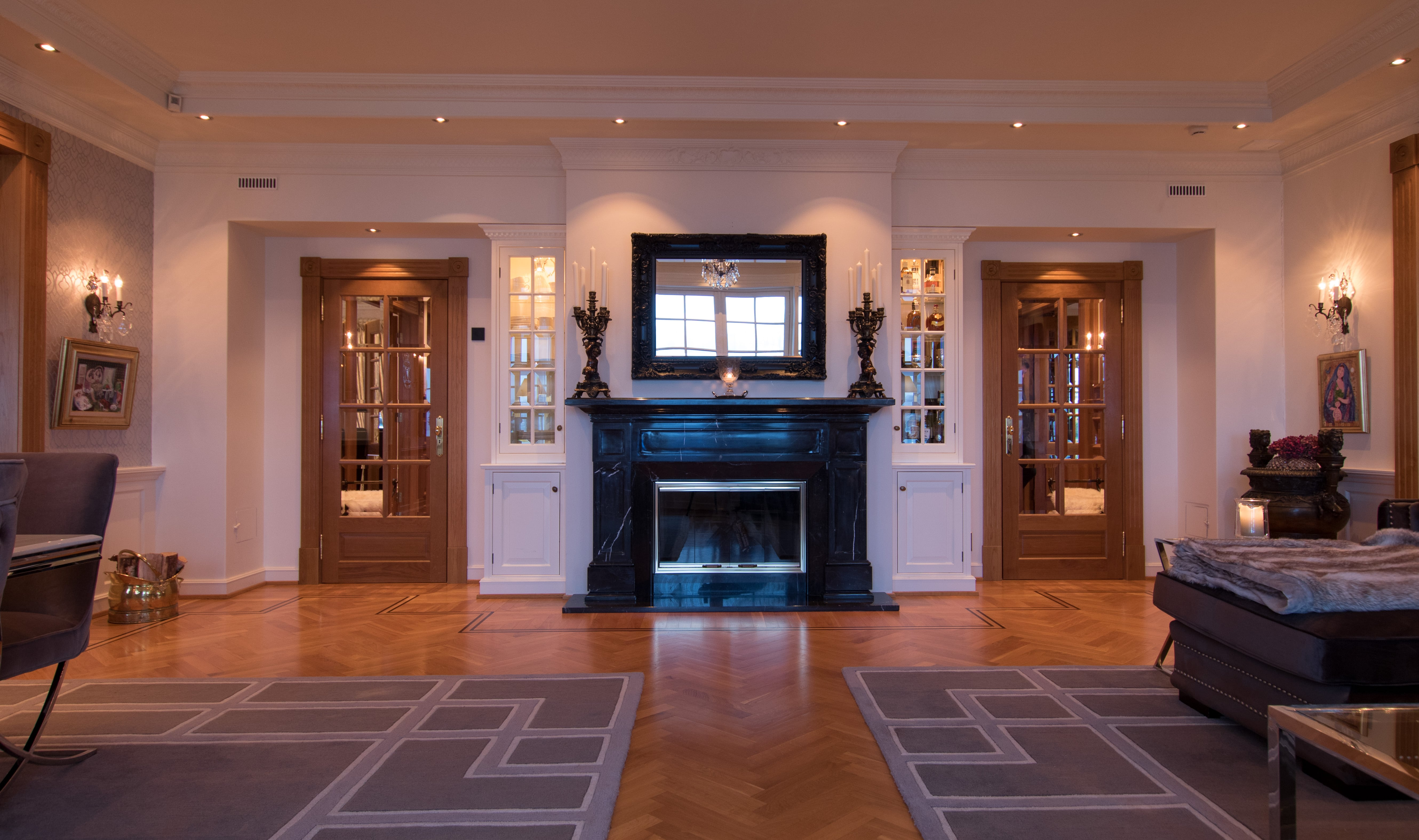 Big living room with fireplace.