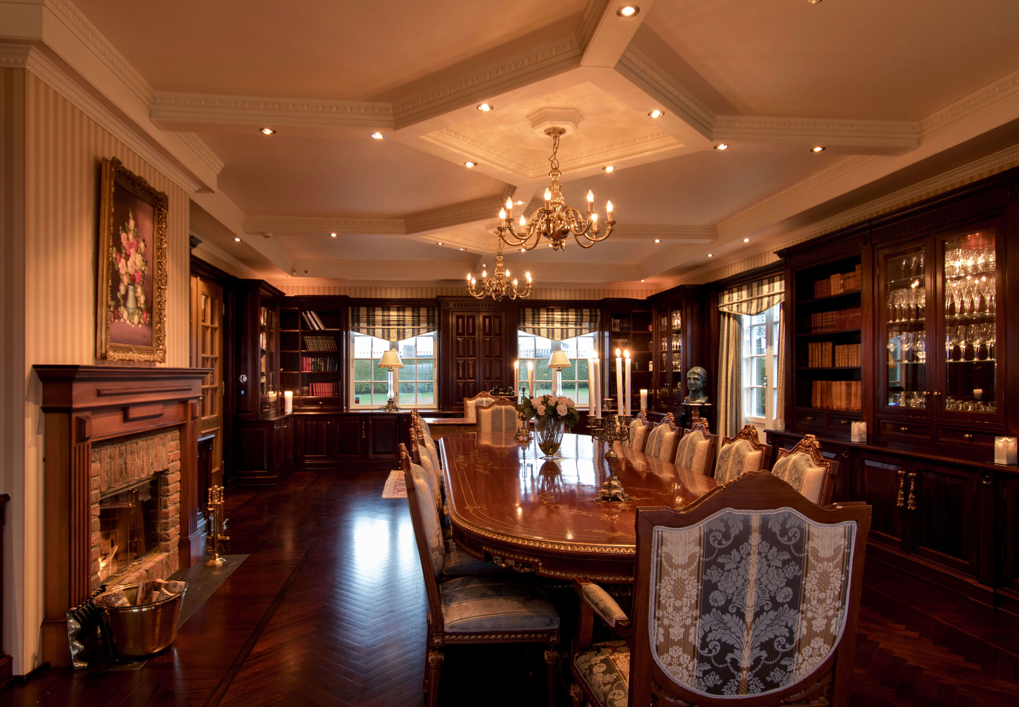 Beautiful roof, fireplace, downlights and floors of the highest standards.
