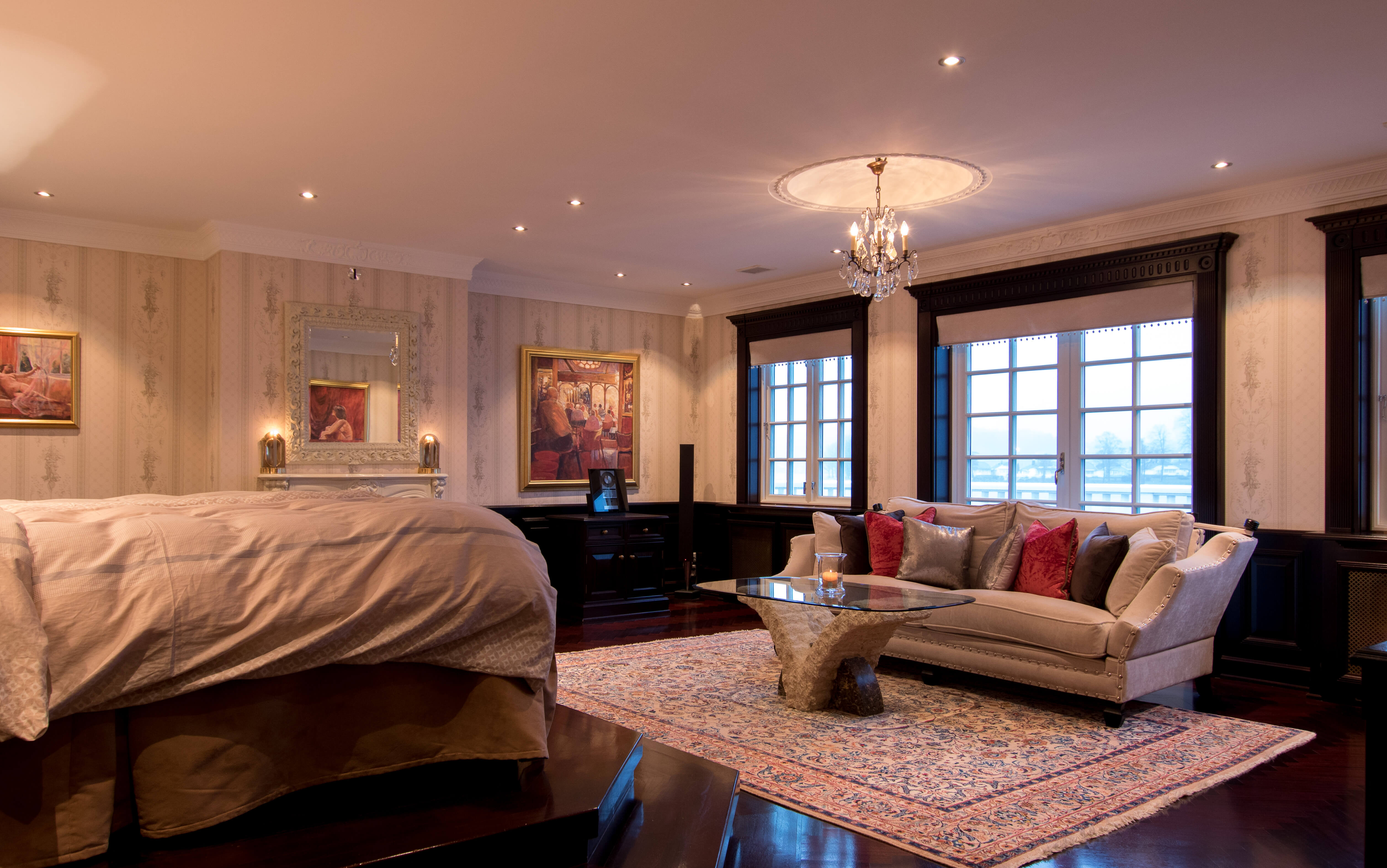 Master bedroom with luxurious qualities.