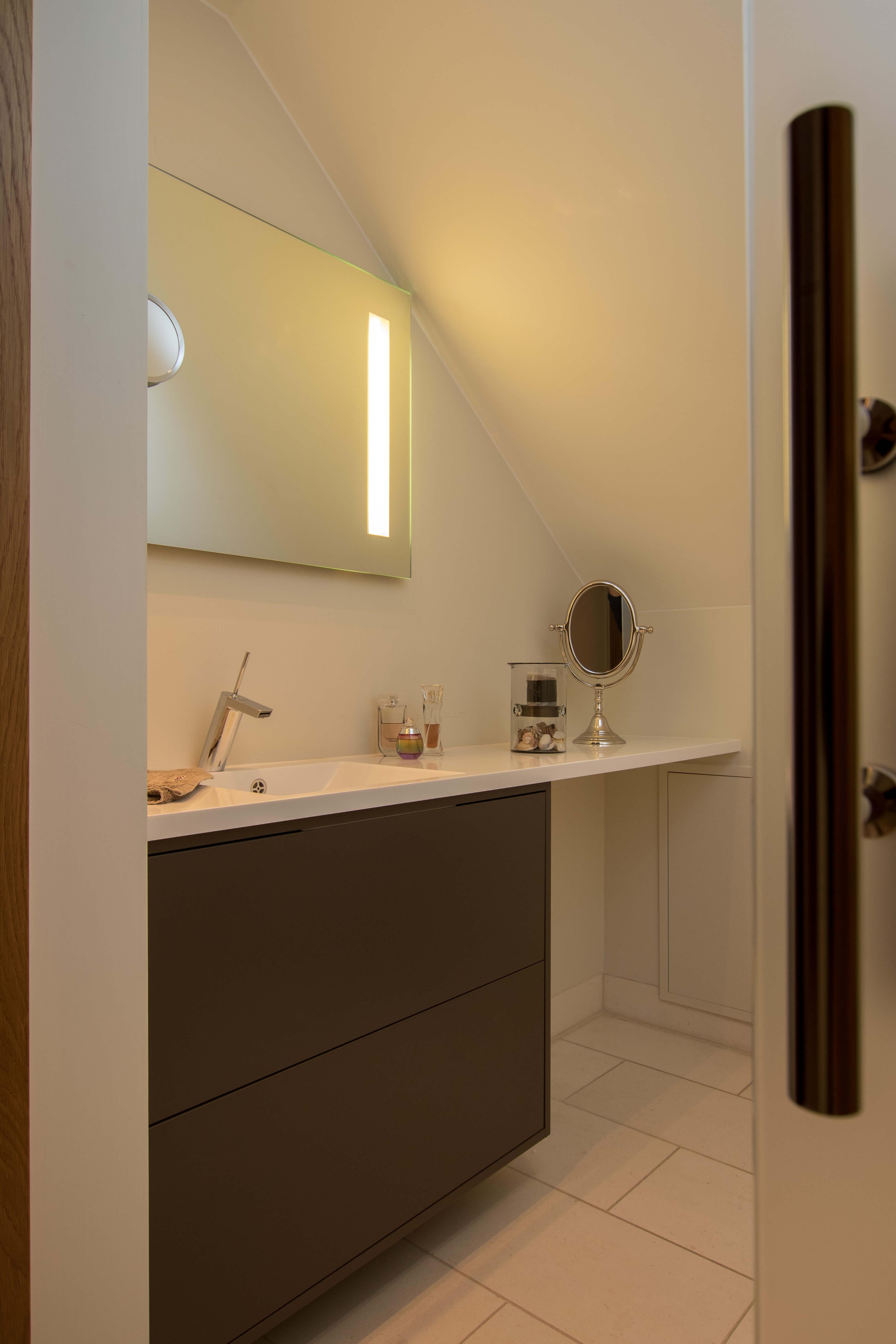 Modern bathroom with stylish details.