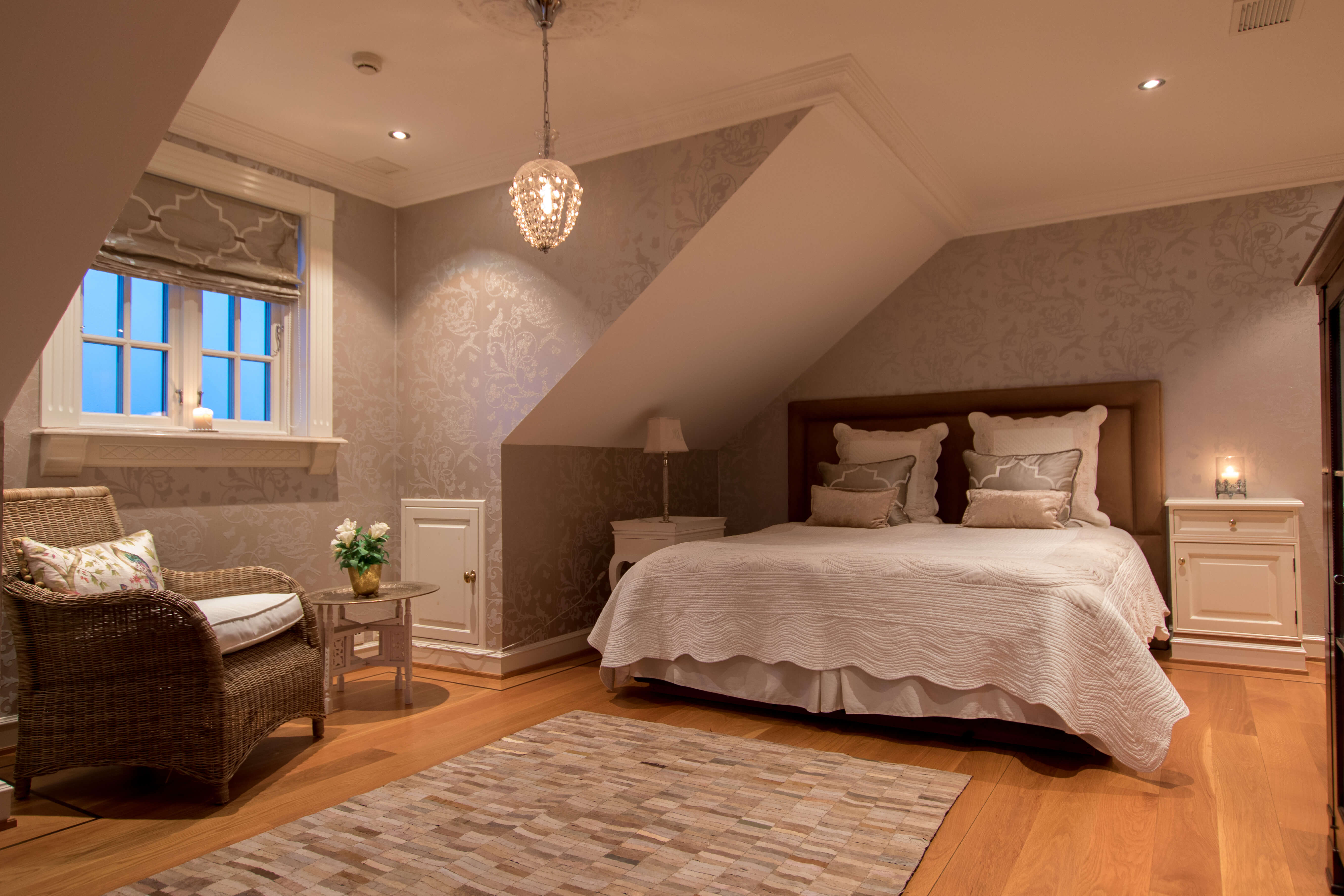 Second bedroom with solid floor, downlights and quality tapestry.