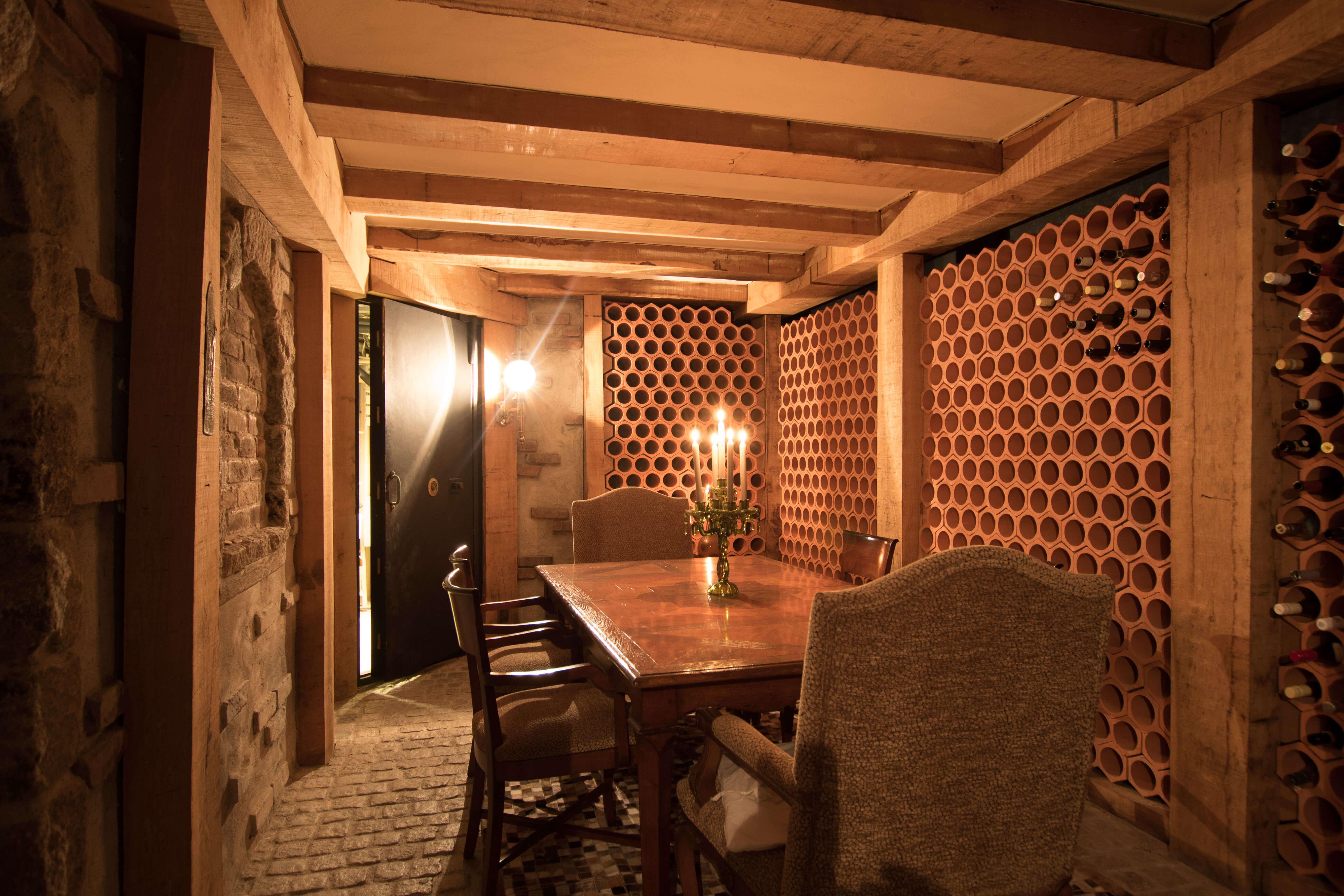 Private bodega and wine cellar.