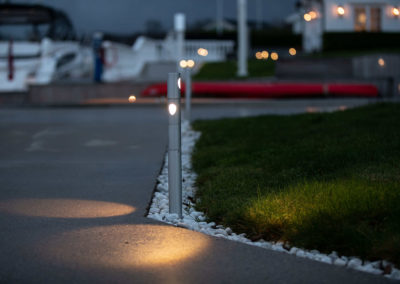 Lighted pathways in garden and on property.