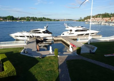 Big private port with room for 80 foot yacht.