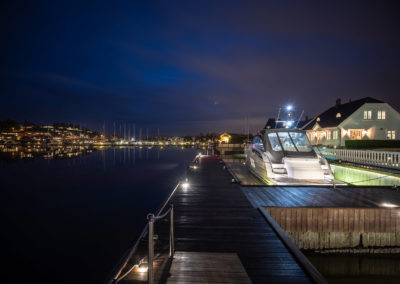 Private dock with lighting.