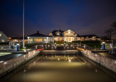 Main house by night.