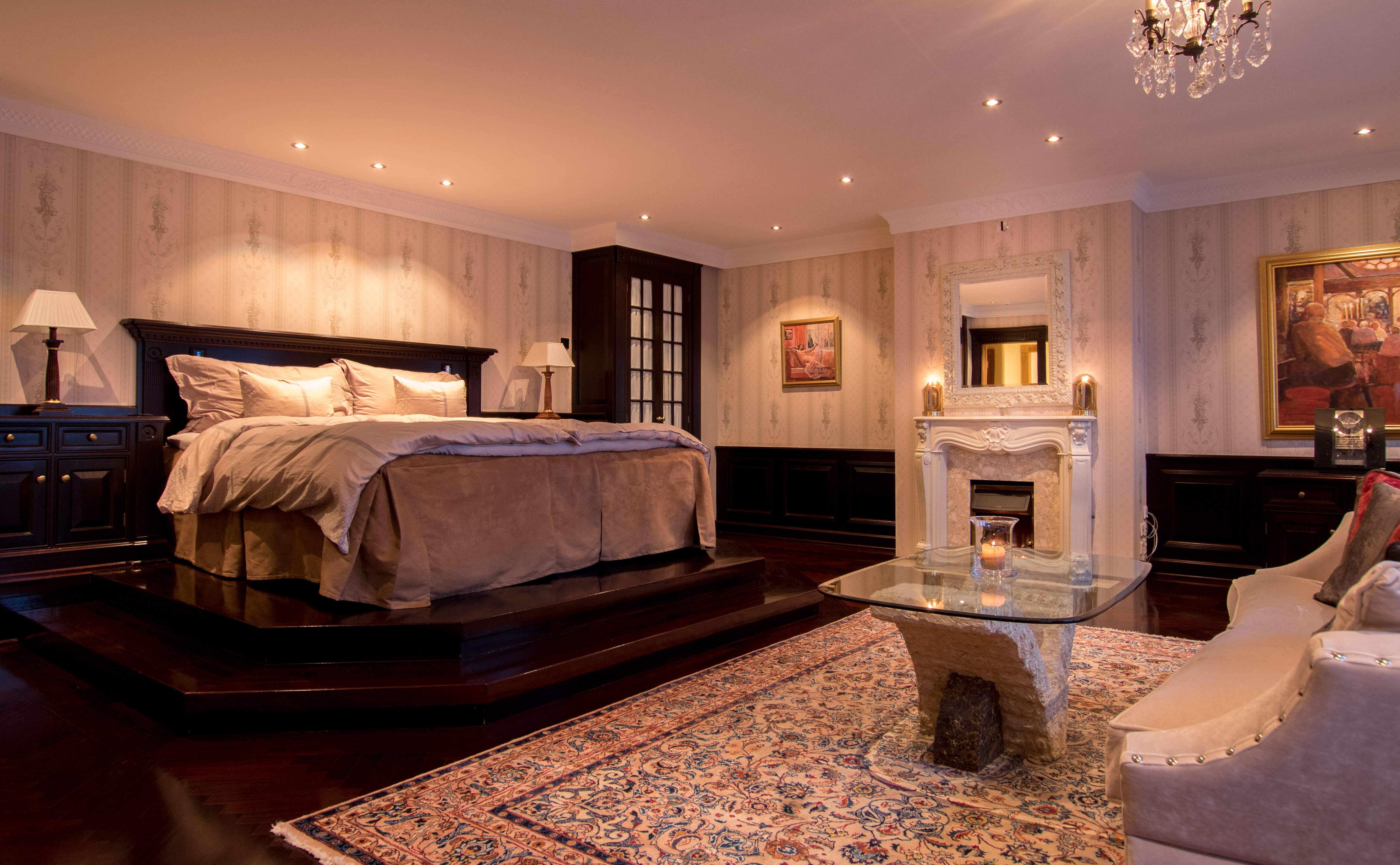 Master bedroom with private fireplace.